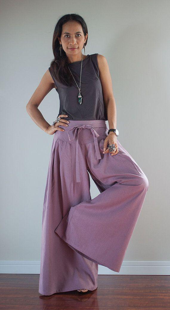 Linen Pants / Wide Leg Pants / Cotton Pants Casual Wear by Nuichan, $58.00