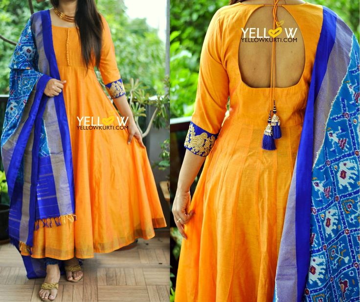 Pure Silk Ikkat dupatta teamed up with long length chanderi anarkali . Kindly write to at teamyellow@yellowkurti.com 28 July 2017