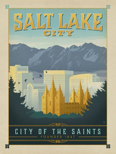 Salt Lake City, Utah - This peaceful and majestic print of the Salt Lake City skyline will brighten any home or office wall. Celebrate the City of the Saints by decorating with this classic design!
