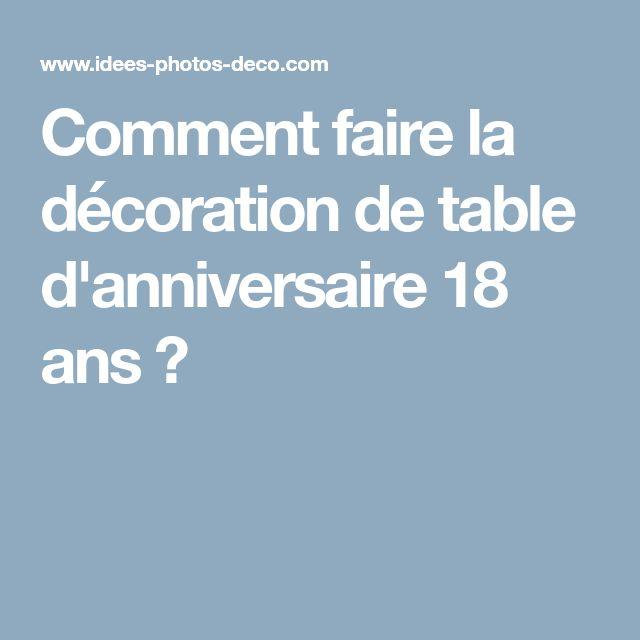 Comment faire la décoration de table d'anniversaire 18 ans ?