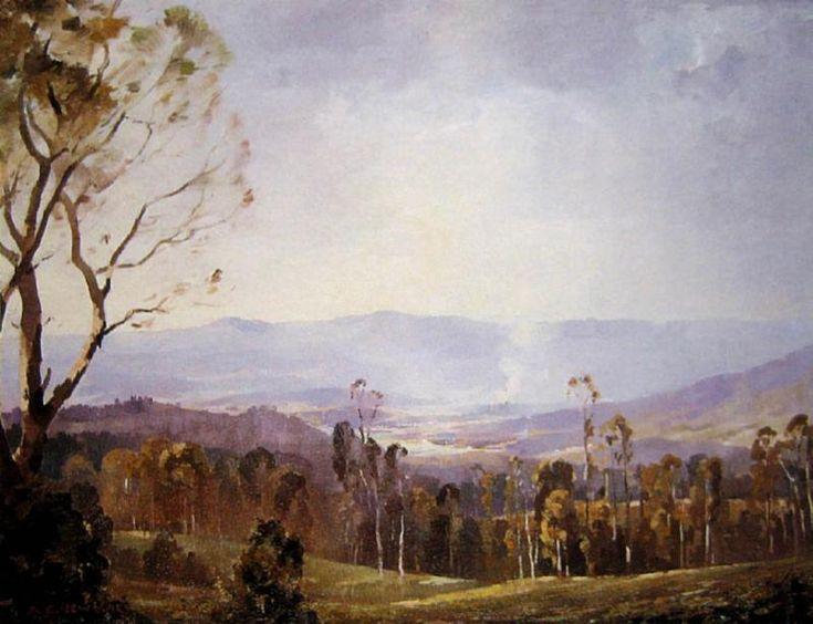 Misty Valley, Oil on canvas board, Albert Ernest Newbury