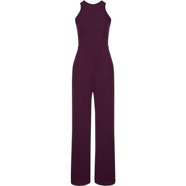 **Nalia Jumpsuit by TFNC (870 ZAR) ❤ liked on Polyvore featuring jumpsuits, burgandy, tfnc, jumpsuits & rompers, purple jumpsuit and jump suit