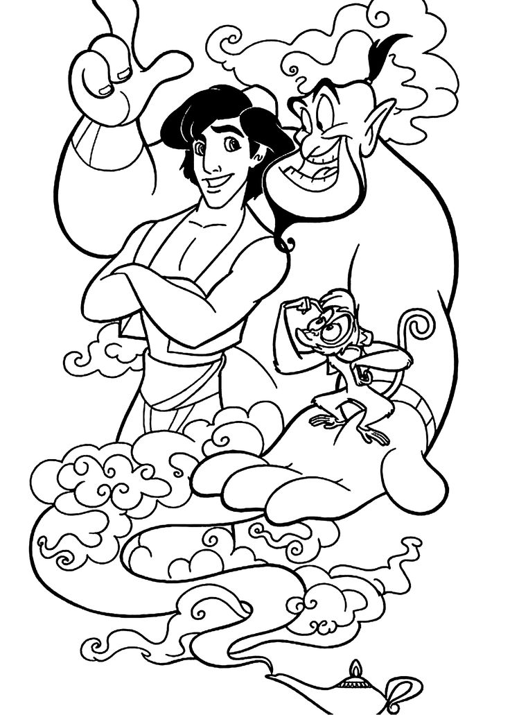 free coloring disney pages | Aladdin cartoons coloring pages with Genie for kids ...