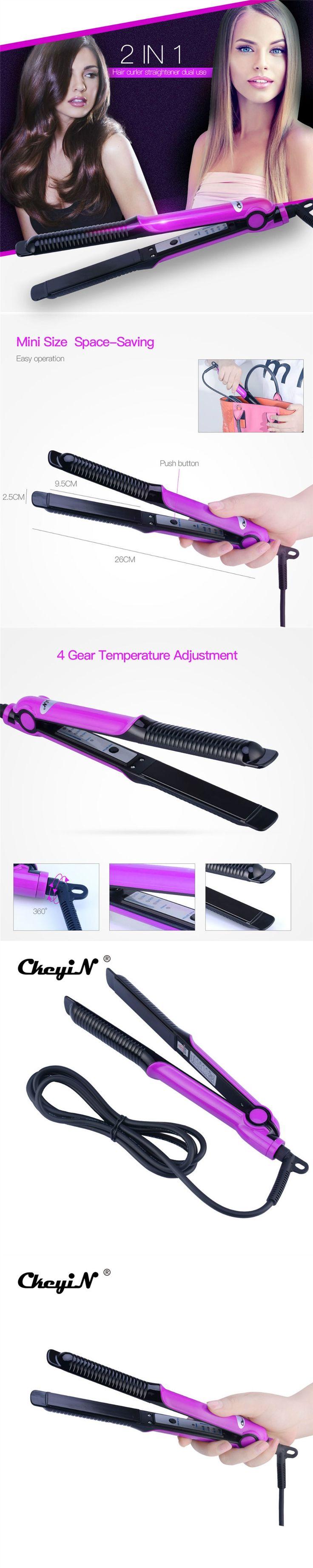 2 in1 Aluminum Heating Plate Hair straightener Hair Curler Temperature Adjustment Rapid Heating Curling Iron plancha de cabello