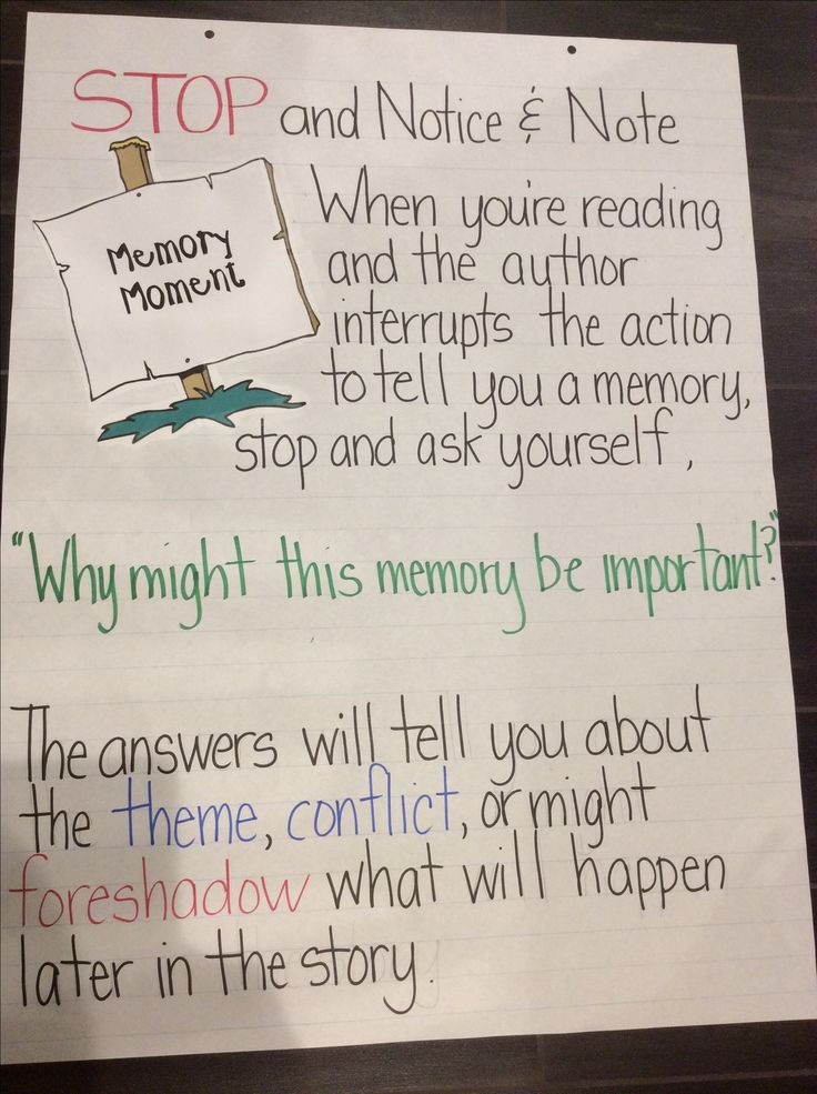 Notice and Note Anchor Chart: Memory Moment ( I made this myself!)
