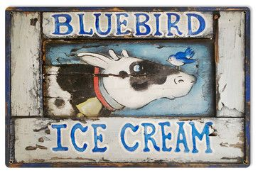 Blue Bird Ice Cream Steel Sign - eclectic - Novelty Signs - The Vintage Sign Store