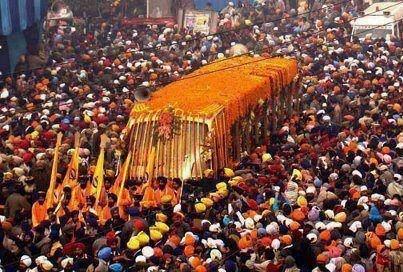 Shobha Yatra in Amritsar on the eve of Guru Nanak Jayanti...    marks the birth anniversary of the first Sikh Guru, Guru Nanak in 1469 - Founder of Sikhism, India    Sikhpoint.com