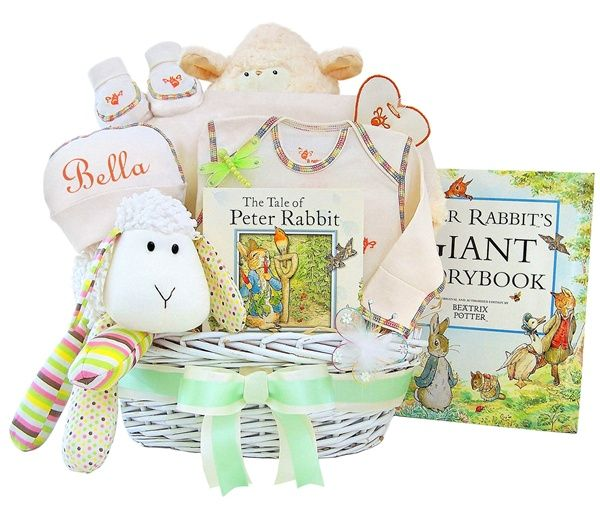 17 best personalized baby clothes images on pinterest babies personalized lullabies tales luxury baby gift basket a basketful of goodies including a lamb negle Image collections