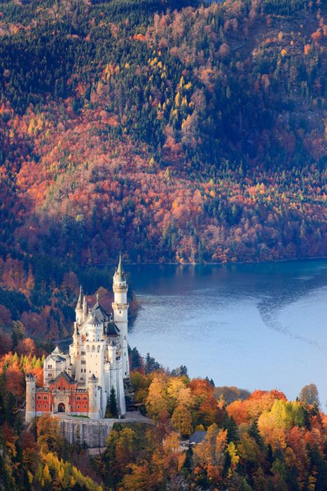 Neuschwanstein Castle, Allgau, Bavaria, Germany. Did you know that this Castle was designed so that it would have running water in its bathrooms!