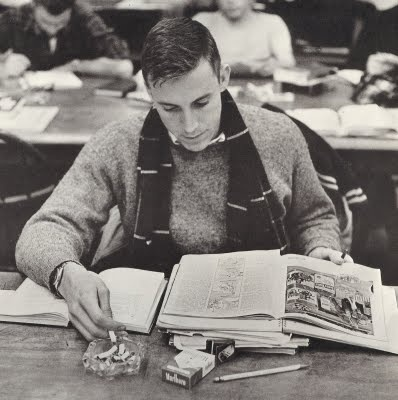It's winter, forget stepping outside. Smoke em if you got em. Dartmouth College - Hanover, New Hampshire Winter 1962.