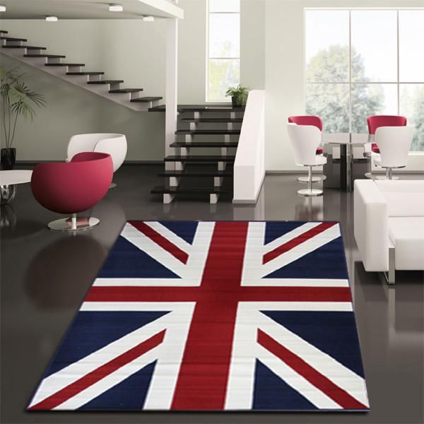 Bright Union Jack rug fits in nicely even in a minimalist living space - Decoist