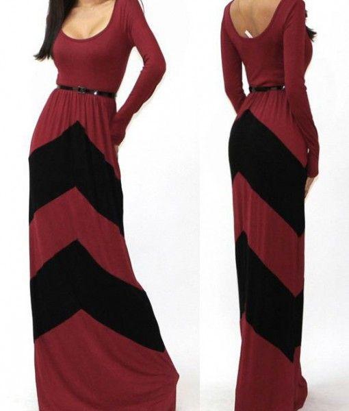 Casual Color Block Sleeve Pleated Floor Length Long Dresses
