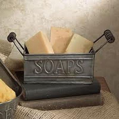 New Primitive Country Colonial Bath SOAP BUCKET HOLDER Tin Caddy Basket