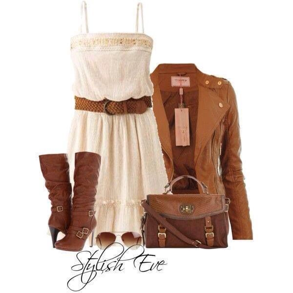White dress with brown accessories and brown jacket