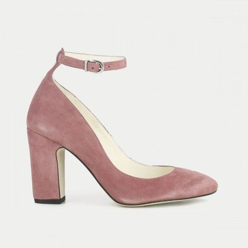 Pink suede pump with strap