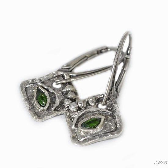 Diopsyd kolczyki - Kolczyki - Biżuteria srebrna