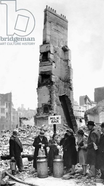 A Spirit-of-the-Blitz milk bar in London, where there had been a dairy until bombing destroyed it.