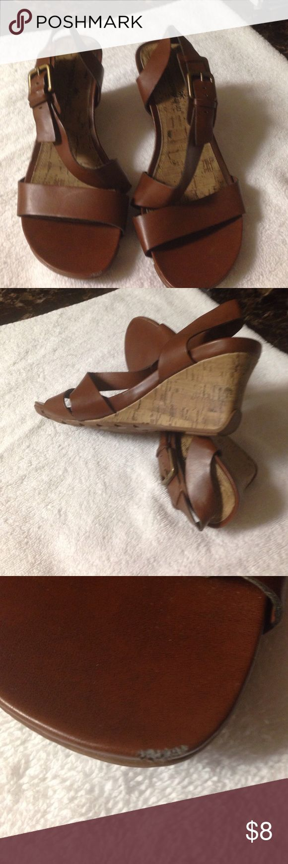 Ladies shoes Gently used shoes... Tiny nick in to as seen in pic.. Other than that.. They are ok. 24th & Ocean Shoes Wedges