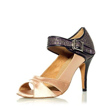 Amazing Metal Snake & Satin Ankle Cross Strap Latin Dance Sandals For Ladies – USD $ 49.99