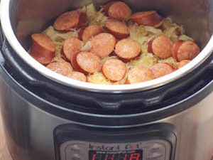 This recipe is a hearty real-food dinner, with minimal prep time. The potatoes are optional, you can skip them or swap them out for other root vegetables. Or simply add more sauerkraut.    This is not a