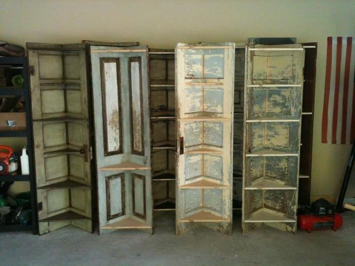 Turn old doors into corner shelves