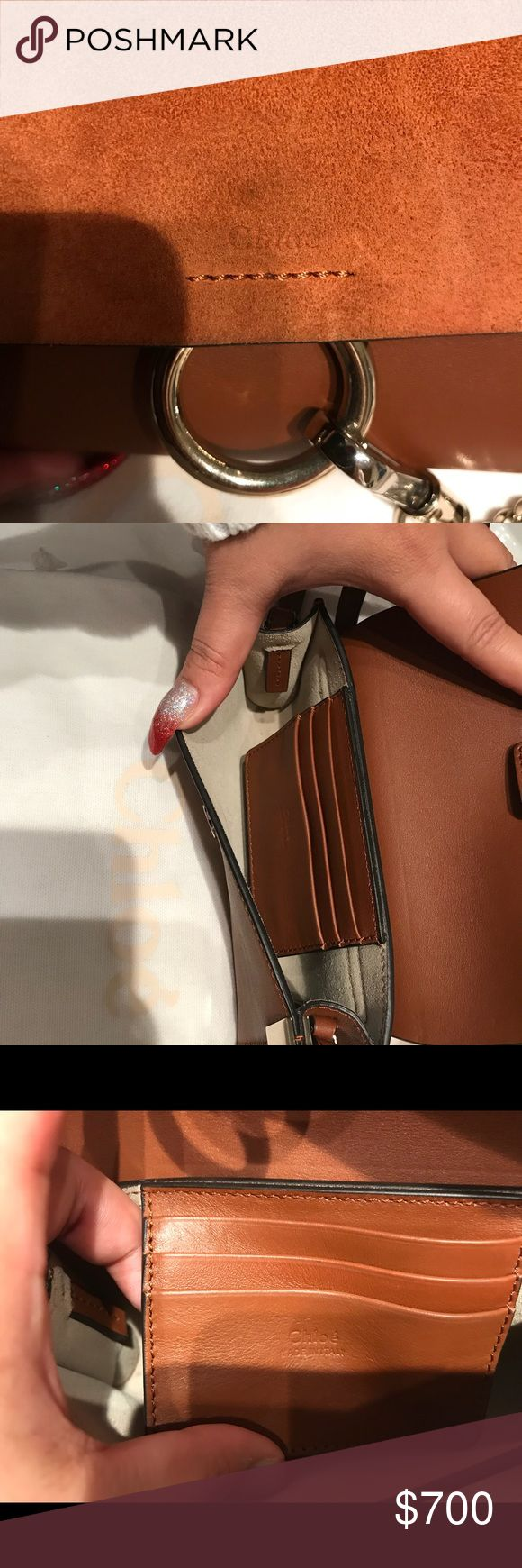 """Chloé Faye Mini Bag Almost new !!!! Never been used!!!  There's where the logo is dark area but i have no idea what is it. For sure you can clean it. I can't return it is more then 90 days that's why i'm selling it. But never been used. I have the dust bag with it. Bought it from Nordstrom. Original price is 795.- plus tax so like 850.    - Lined with beige suede. Three card slots at interior. -Magnetic snap closure - Made in italy - 4.0 """"heightx7.0""""width x 1.5 """" depth (approximately) - 22…"""