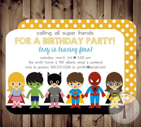 SUPER-héros et SUPER GIRL anniversaire Invitation par T3DesignsCo