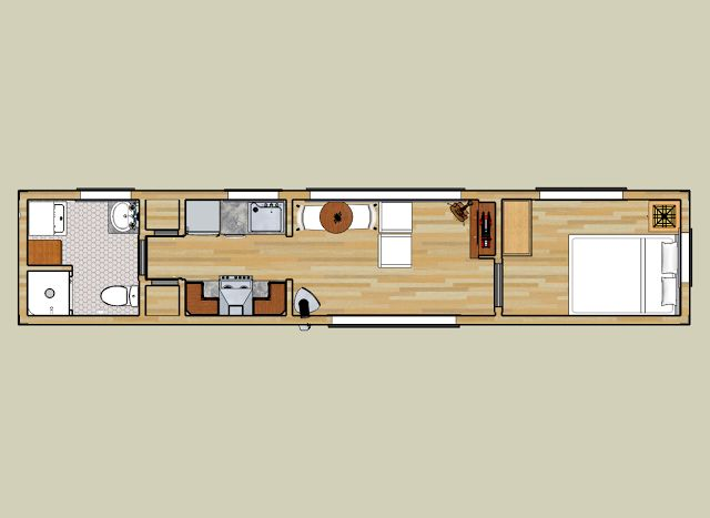 40-Foot Container Home Pictures | Floor plan for 8' x 40' shipping container home.