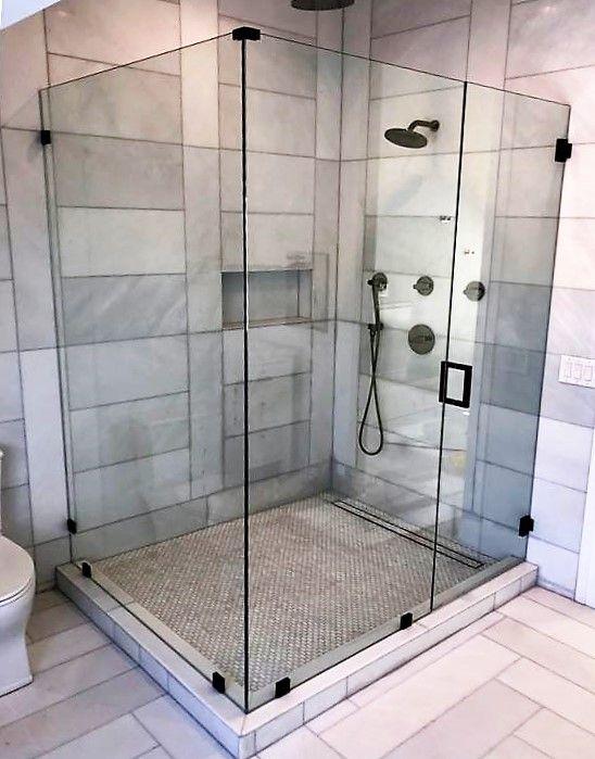 Frameless Corner Unit With Wall Mounted Hinges In Gloss Black Frameless Shower Doors Black Shower Doors Corner Shower Units