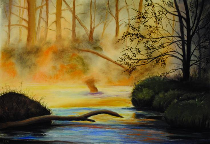 sucha pastela, pejzaż, rzeka, las, soft pastel , landscape, forest, river, Katarzyna Staniarska