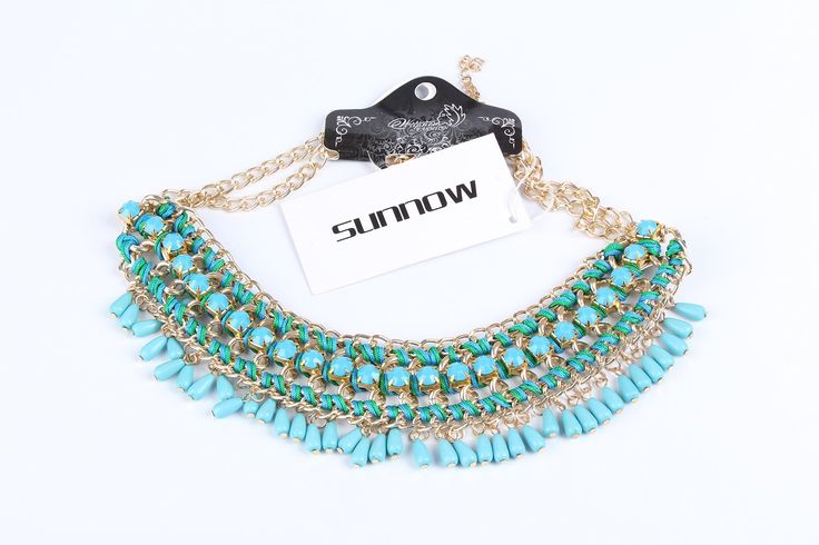 Bohemian Vintage Perles Tassel Bib Style Pull Collier Fashion Necklace (Bleu): Amazon.fr: Vêtements et accessoires