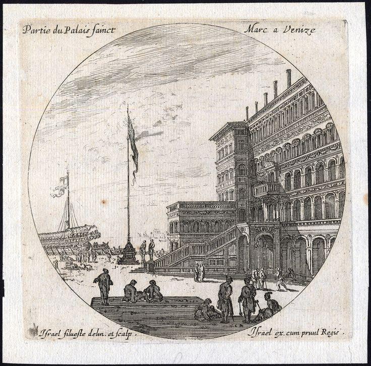 The Prints Collector :: Partie du Palais Sainct Marie a Venize (St. Mark's Basilica beside the Doge's Palace). Original engraving by Israel Silvestre (1621-1691), ca. 1680.