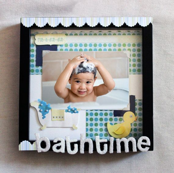 Bathtime Shadow Box Picture Frame for Baby Boy by OneofaKindbySSD