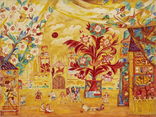 Set Design for Act II of Le Coq d'Or by Rimsky-Korsakov for Sergei Diaghilev's Ballets Russes, Natalia Goncharova, 1914.