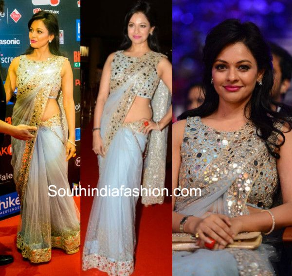 Pooja Kumar in Mirror Work Saree