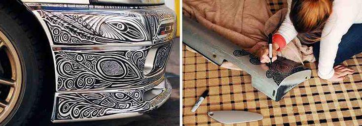 Girlfriend's Amazing Transformation of Nissan Skyline GTR Car with Just a Sharpie Pen