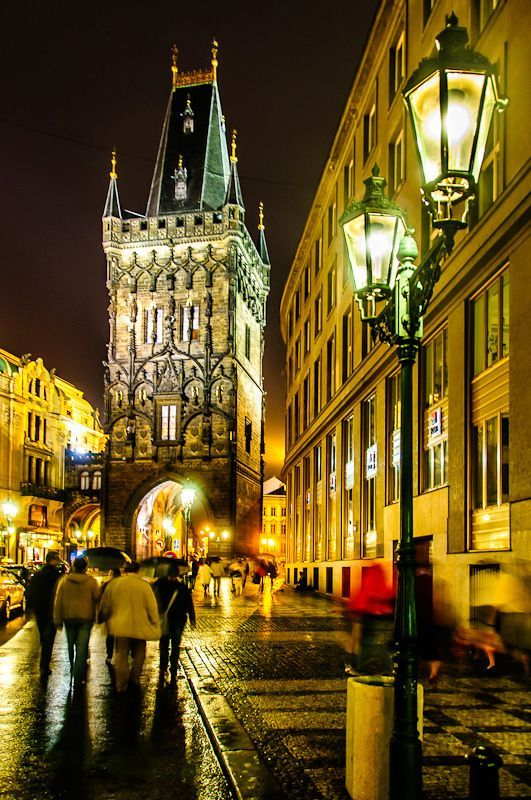 Powder Tower by night - Prague, Czech Republic