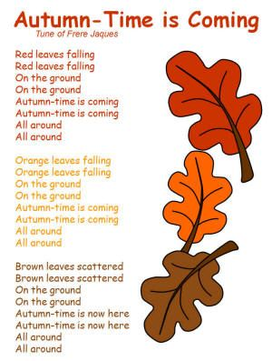 """Autumn-Time is Coming"" Song...to the tune of Frere Jacques"