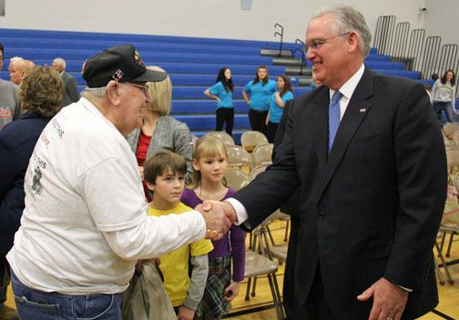 Gov. Jay Nixon Joins Hermann High School's DECA Club In Veterans Day Assembly