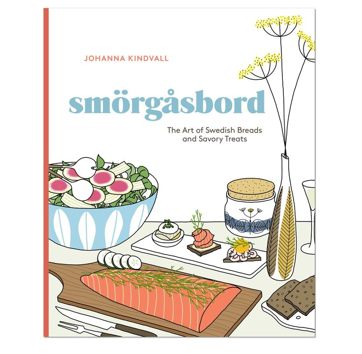 The book is a celebration of the Swedish tradition Smörgåsbord which is a festive buffet with dishes like cured herring, gravlax, cold cuts, pickles, salads, and meatballs.