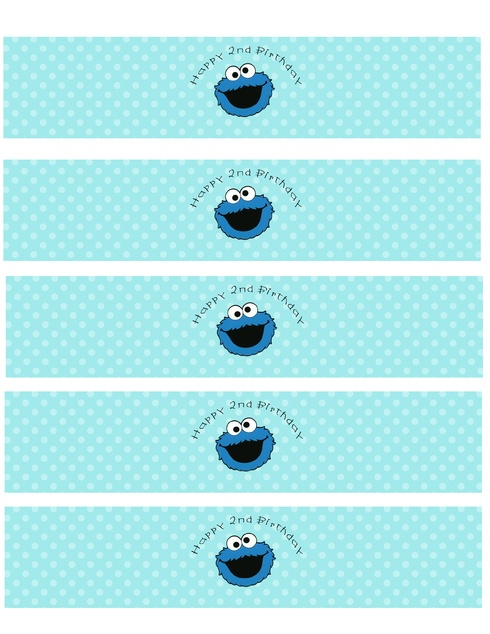 Cookie Monster Water Bottle Label (free)