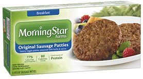 Morningstar Farms sausage patties are meat-free and have 77% less fat than regular pork sausage. They deliver 10 grams of protein in only 80 calories per serving. Pair them with eggs and whole wheat toast, and you've got breakfast!