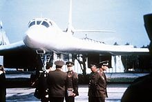 Soviet officers in front of a Tupolev Tu-160 in September 1989