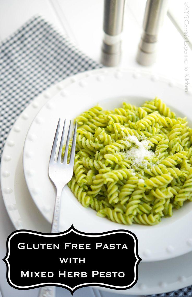 Gluten Free Pasta with Mixed Herb Pesto   Carrie's Experimental Kitchen #glutenfree #pasta #vegetarian
