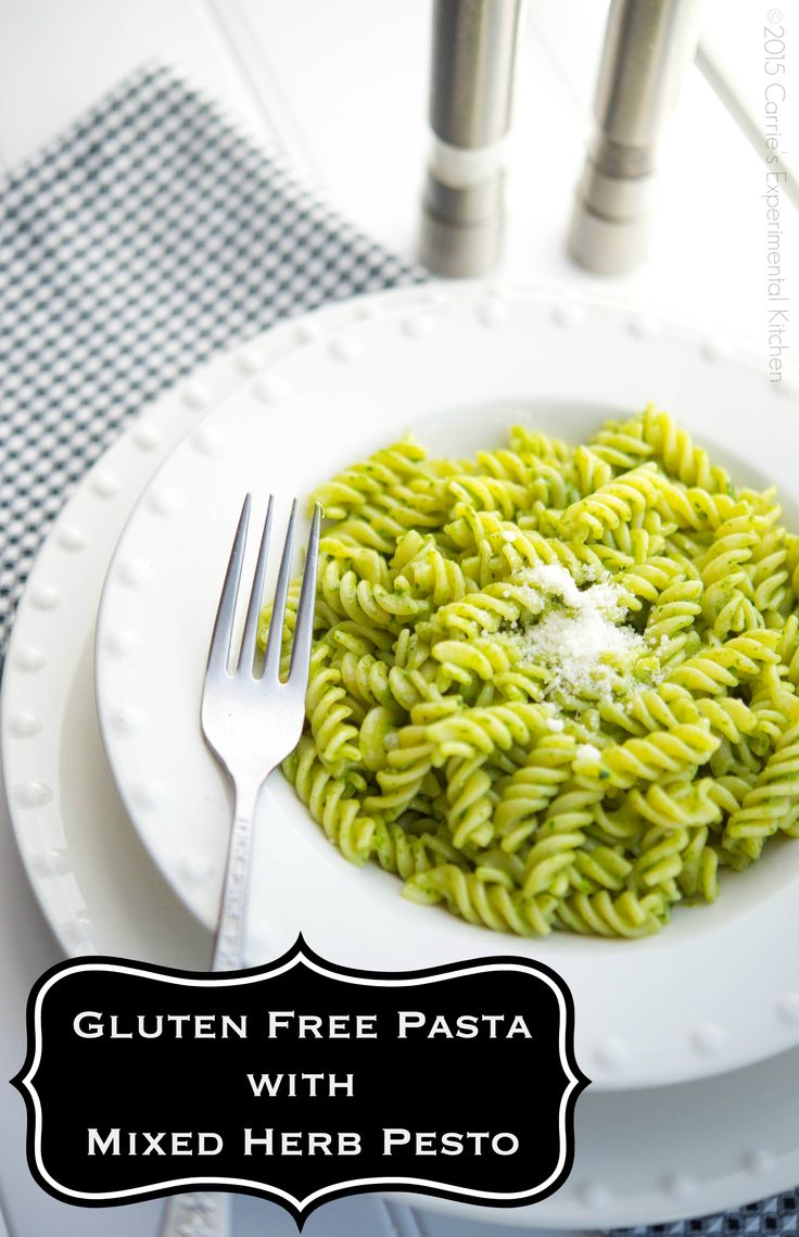 Gluten Free Pasta with Mixed Herb Pesto | Carrie's Experimental Kitchen #glutenfree #pasta #vegetarian