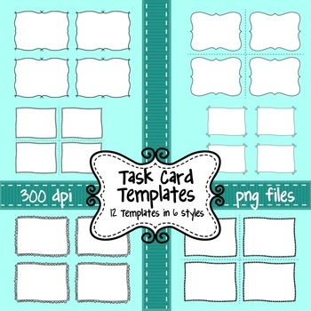 Task Card Templates - Set of 12 Frames/Borders to Overlay