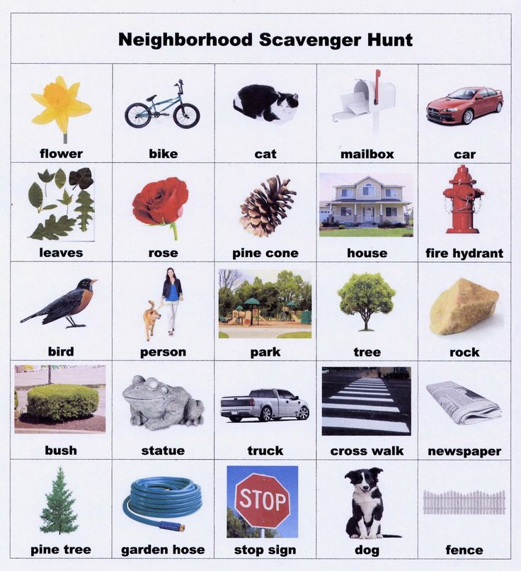 Word Work:  Reinforce vocabulary words by going on ga Neighborhood Scavenger Hunt.  Could do this for school too.