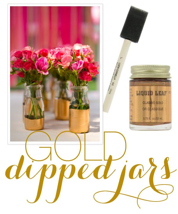 Gold-dipped jars: Dining Room, Vase, Diy Gold, Gold Leaf, Diy'S, Wedding Ideas, Gold Dipped, Diy Projects
