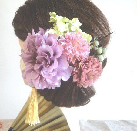 アンティークパープルダリアとピンポンマム・紫陽花の 着物・和装髪飾り~5色から選べるタッセル付き~ 27