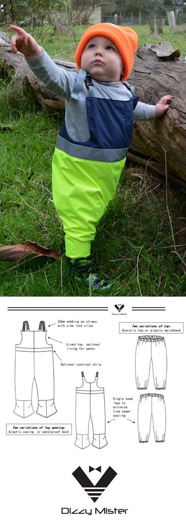 Waterproof overalls, with water-proofing guide included. Great fun to sew and great for a toddler to wear all day in the mud!
